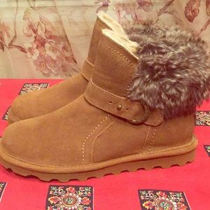 BearPaw KOKO brown boots 9 suede wool faux fur